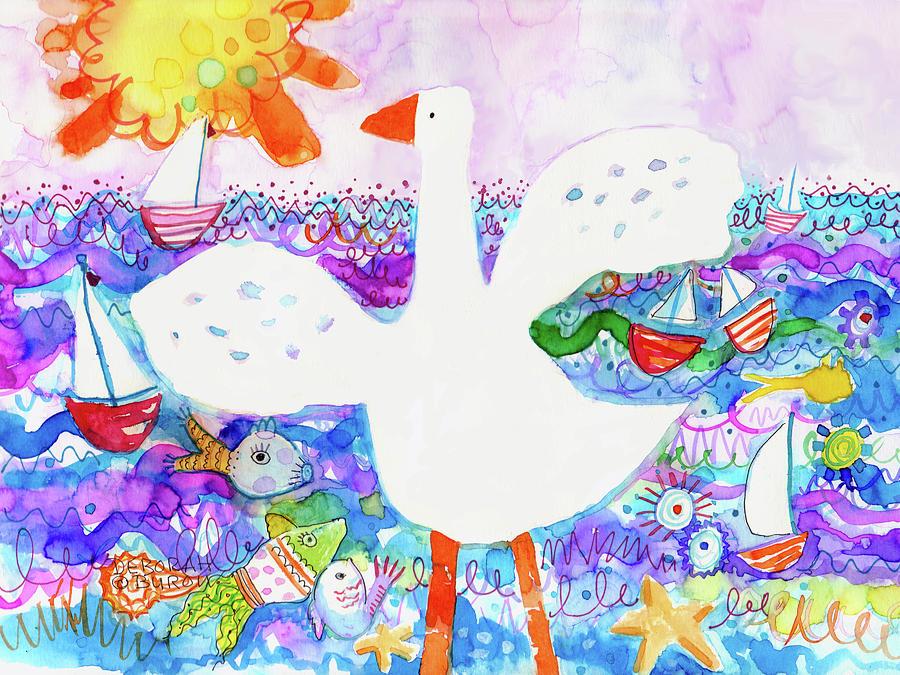 White Goose Painting - Goose At The Beach by Deborah Burow