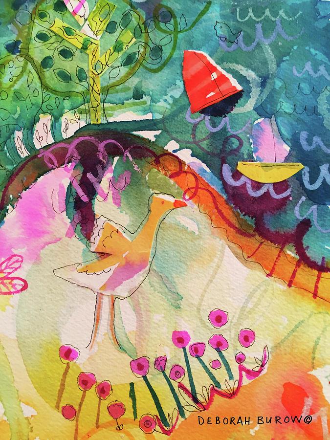 Goose Painting - Goose At The Lake by Deborah Burow