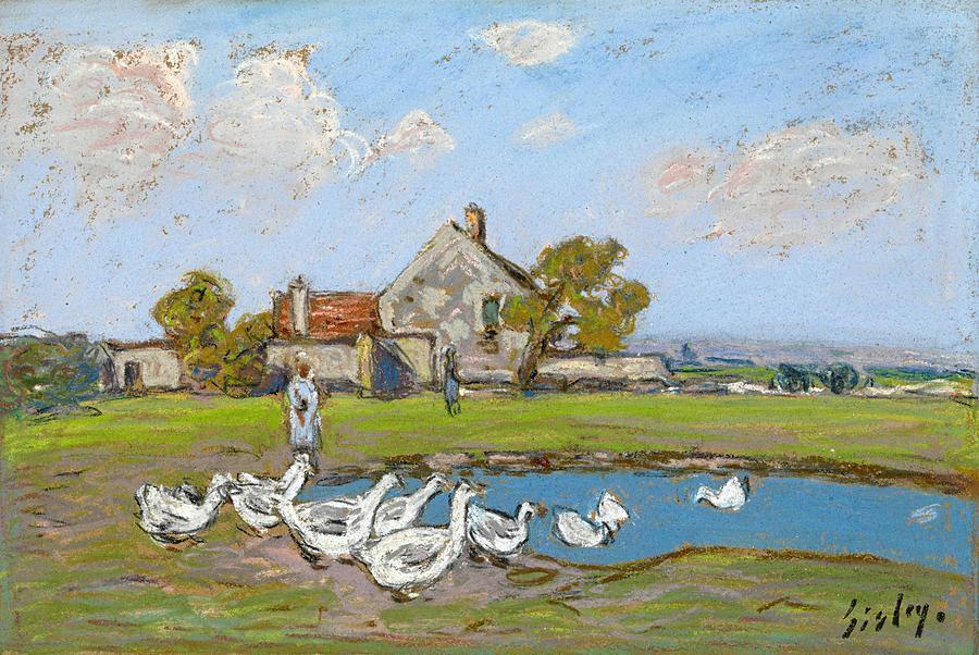 Alfred Sisley Drawing - Goose Girl At Sablons by Alfred Sisley
