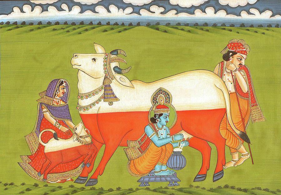 Gopal Krishna Leela Grass Cow Milk Indian Miniature Watercolor