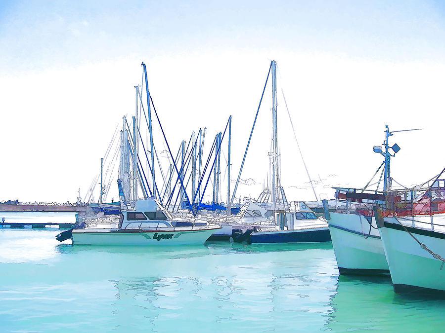 Yachts Digital Art - Gordons Bay Harbour by Jan Hattingh