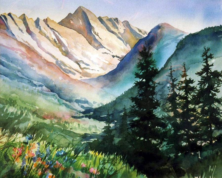Vail Painting - Gore Range by Patty  Frierson