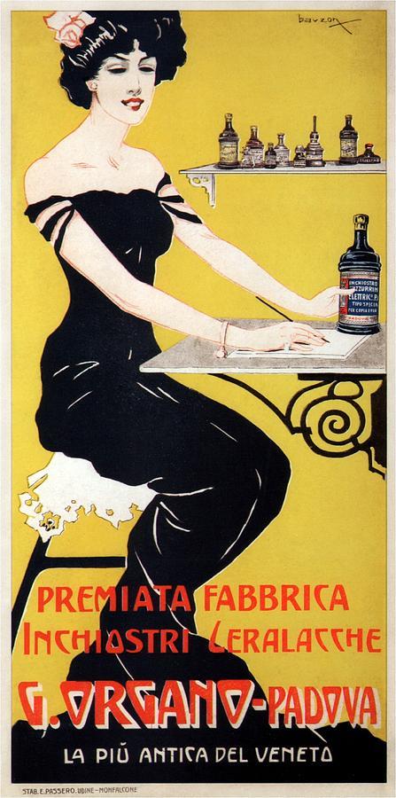 G.organo - Premiata Fabrica - Padova, Italy - Vintage Ink Advertising Poster Mixed Media
