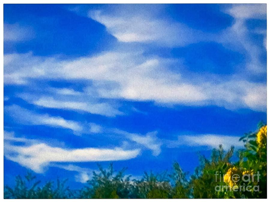 White Photograph - Gorgeous Blue Sky With Clouds by Debra Lynch
