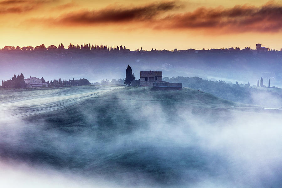 Italy Photograph - Gorgeous Tuscany Landcape At Sunrise by Evgeni Dinev