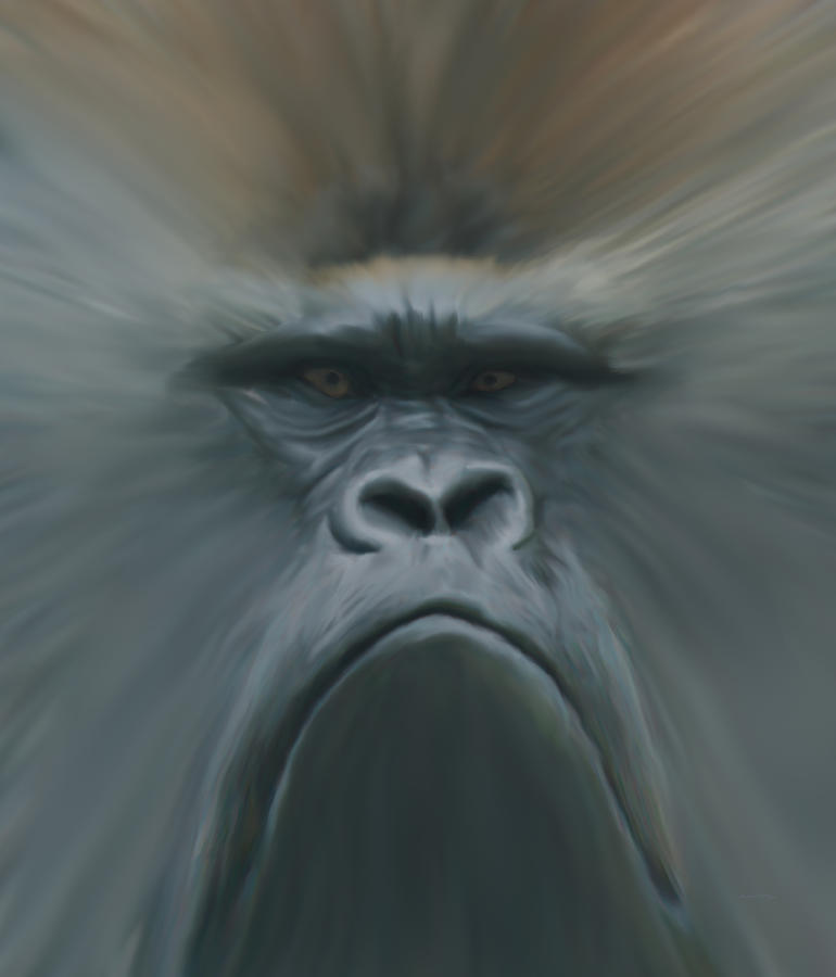 Animals Digital Art - Gorilla Freehand Abstract by Ernie Echols