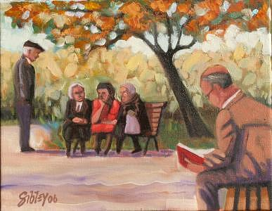 Park Painting - Gossip by Don Sibley