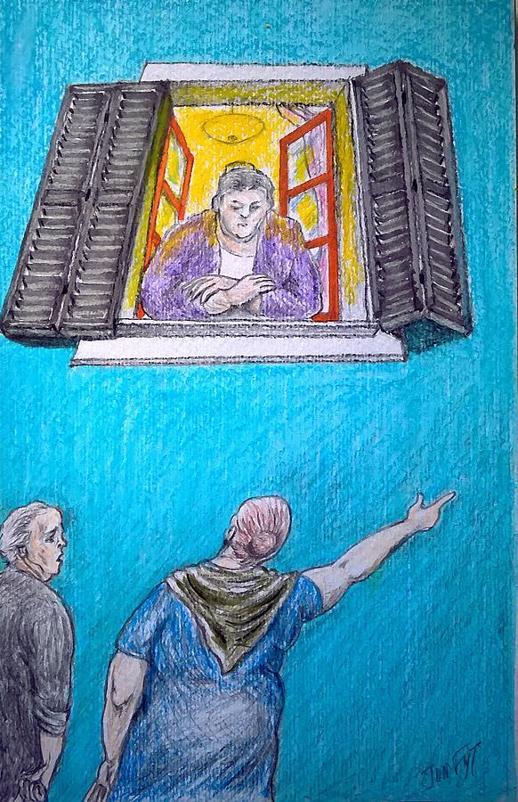 Gossip Drawing by Jon Fyt