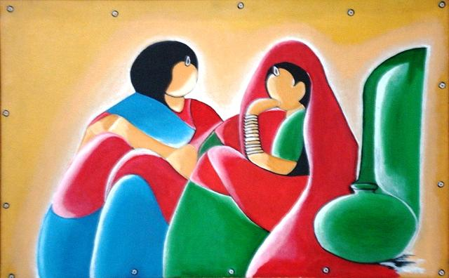 Abstract Painting - Gossip by Sd Chopra