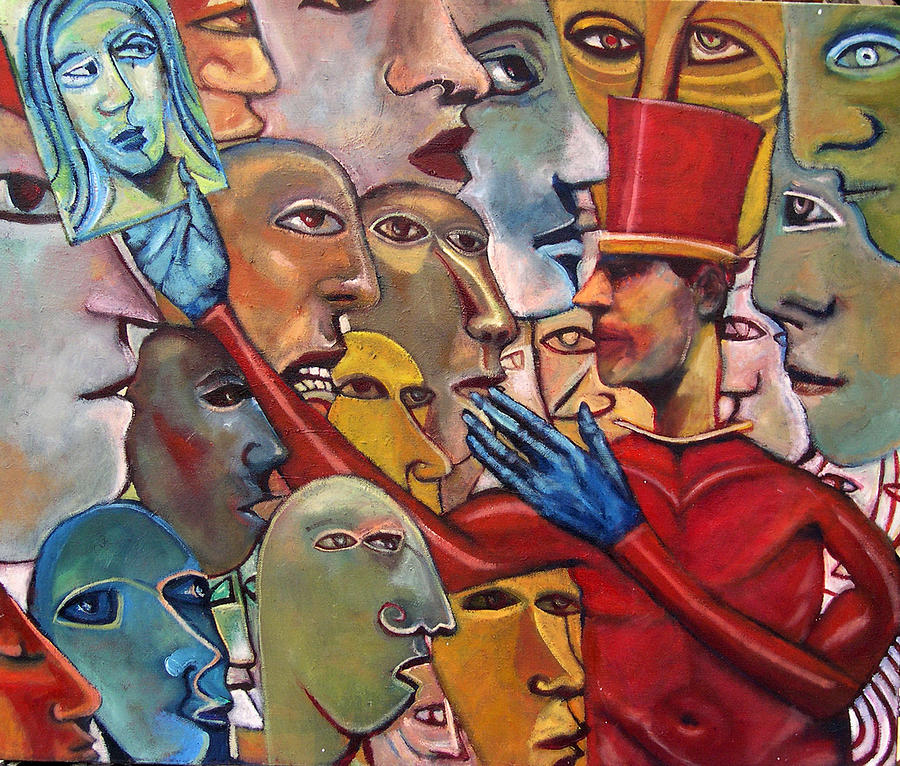 Figurative Painting - Gossips by Jonathan Franklin