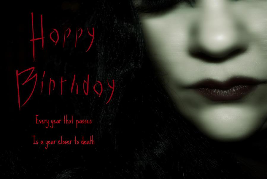 Face Photograph - Goth Birthday Card by Lisa Knechtel