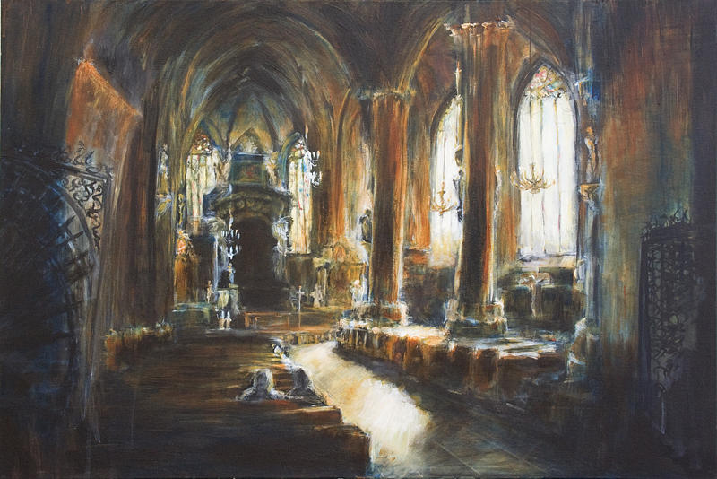 Church Painting - Gothic Church by Nik Helbig