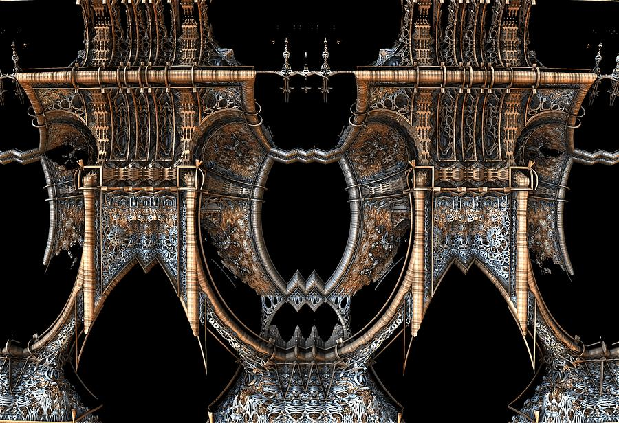 Gothic Steampunk Mirror Frame Digital Art by Hal Tenny
