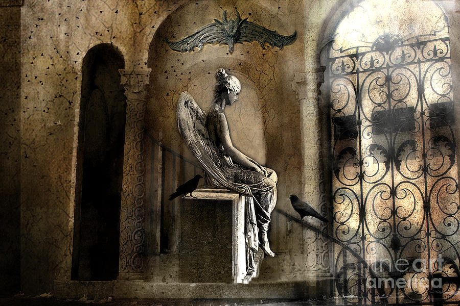 Angel Sepia Photograph - Gothic Surreal Angel With Gargoyles And Ravens  by Kathy Fornal