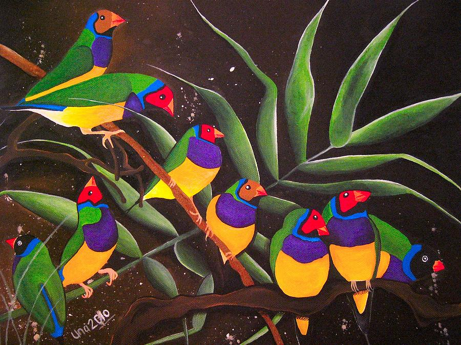 Gouldian Finch Painting - Gouldian Finch Rainbow by Una  Miller
