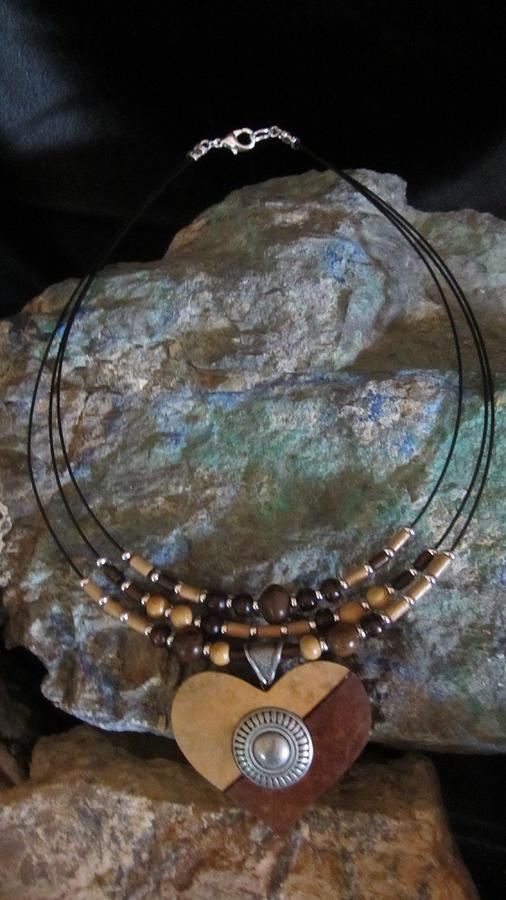 Gourd Jewelry - Gourd Button Heart H91 by Barbara Prestridge