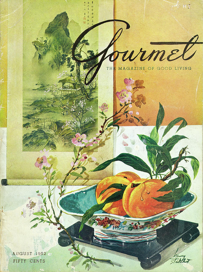 Gourmet Cover Featuring A Bowl Of Peaches Photograph by Henry Stahlhut