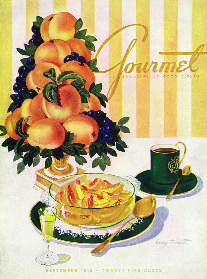 Gourmet Cover Featuring A Centerpiece Of Peaches Photograph by Henry Stahlhut