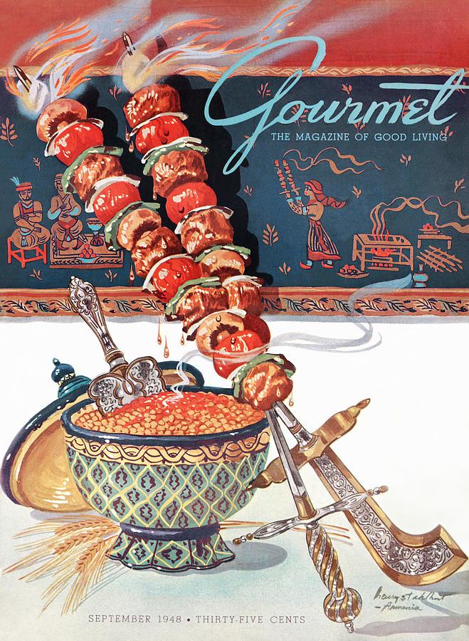 Gourmet Magazine September 1948 Painting by Henry Stahlhut