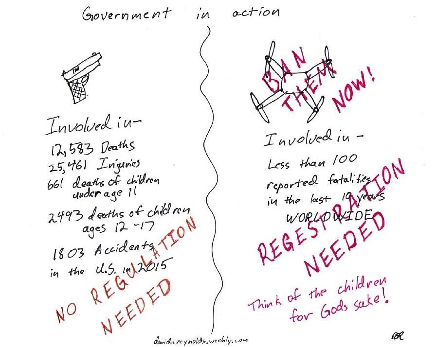 Drone Drawing - Government Inaction by David S Reynolds