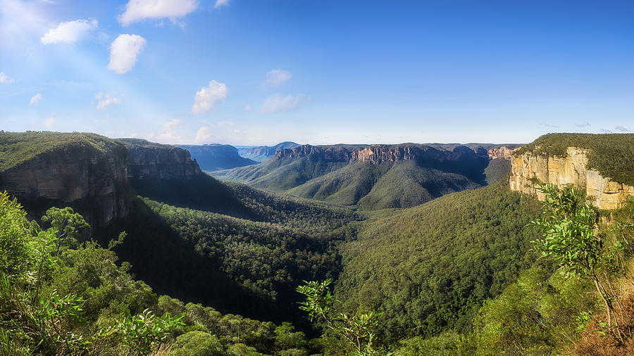 Australia Photograph - Govetts Leap Lookout Panorama, Australia by Daniela Constantinescu