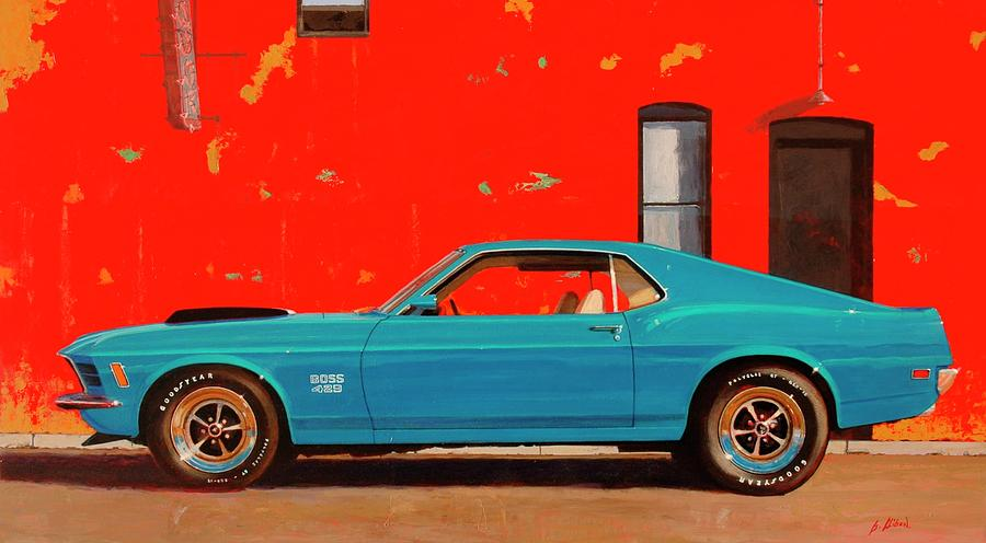 Muscle Car Painting - Grabber Blue Boss by Greg Clibon