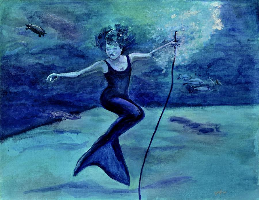 Mermaid Painting - Grace Under Water by Julie Komenda