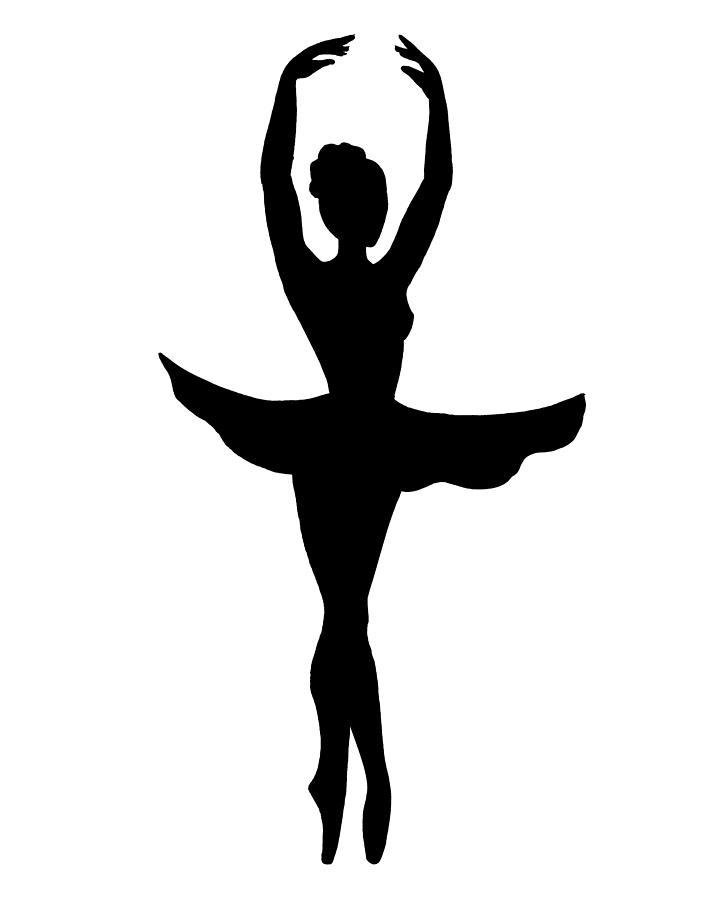 Graceful Ballerina Silhouette Painting by Irina Sztukowski