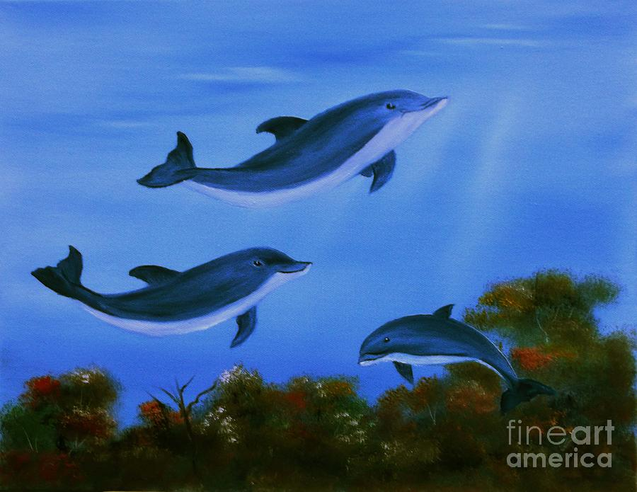 Dolphins Painting - Graceful Dolphins At Play. by Cynthia Adams