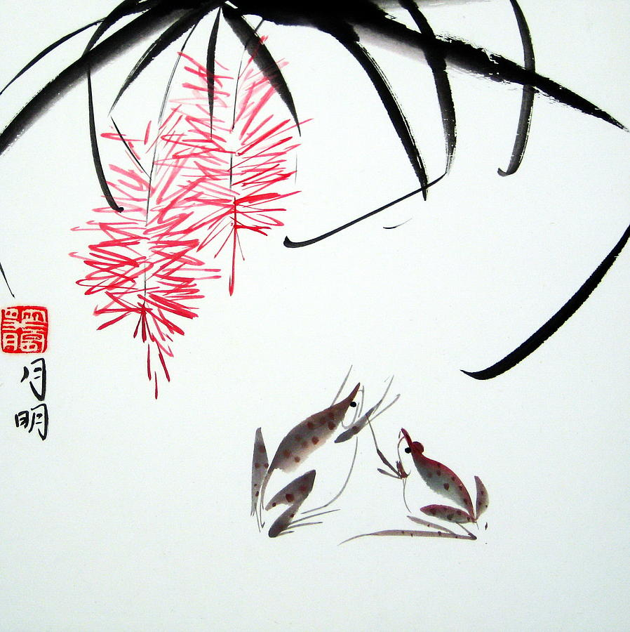Chinese Painting Painting - Graceful Frogs by Ming Yeung
