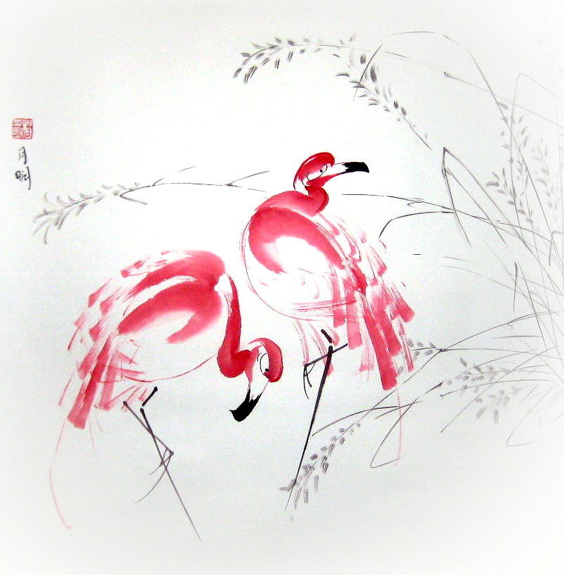 Flamingo Painting - Graceful Pair by Ming Yeung