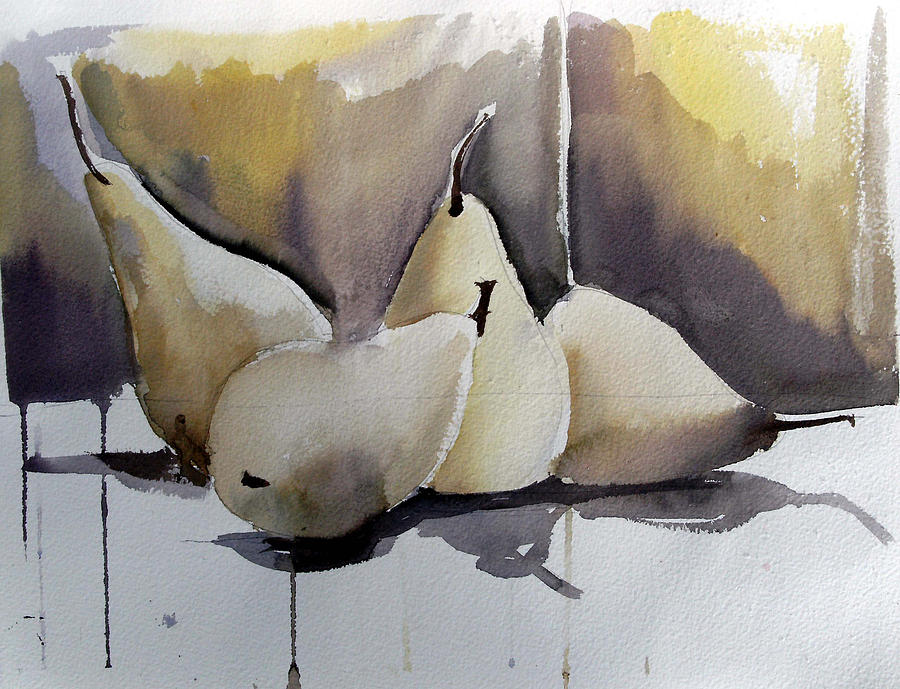 Watercolor Painting - Graceful Pears by Mindy Newman