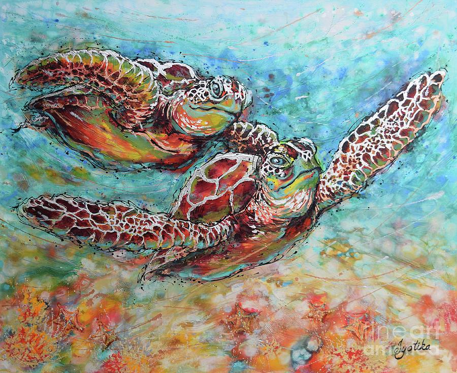 Marine Turtles Painting - Sea Turtle Buddies by Jyotika Shroff