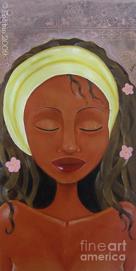 Headwrap Painting - Graces Frangipani by Sabbio B