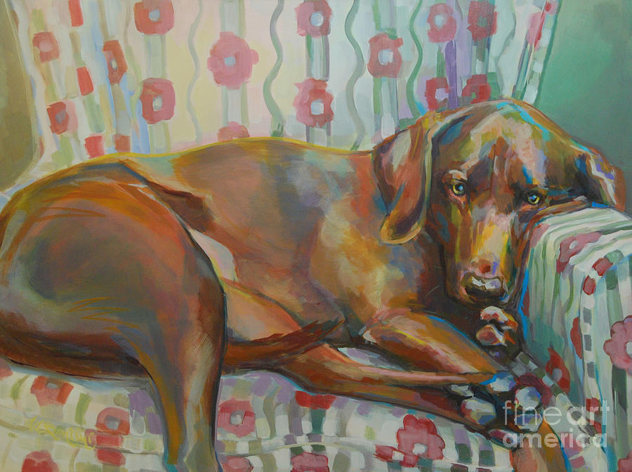 Chocolate Lab Painting - Graces Throne by Kimberly Santini