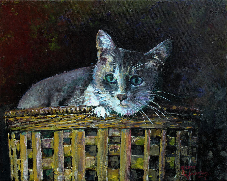 Gracie in a Basket - Acrylic 20x16 Painting by Doug Jerving