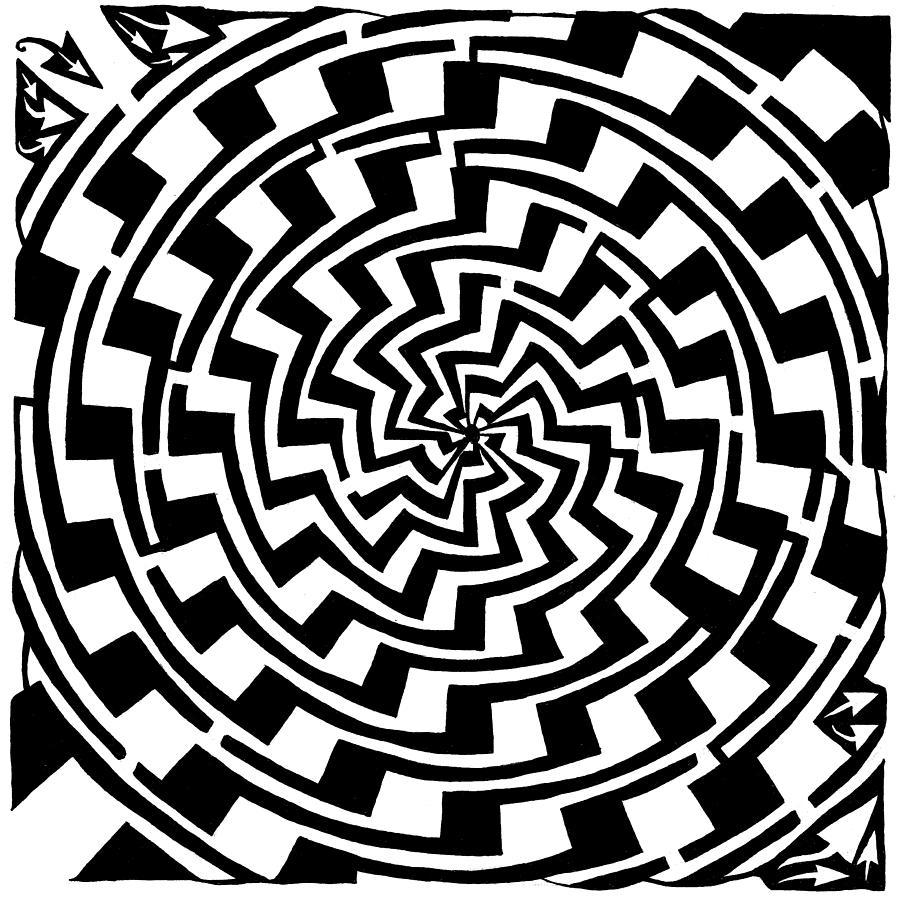 Gradient Drawing - Gradient Tunnel Spin Maze by Yonatan Frimer Maze Artist