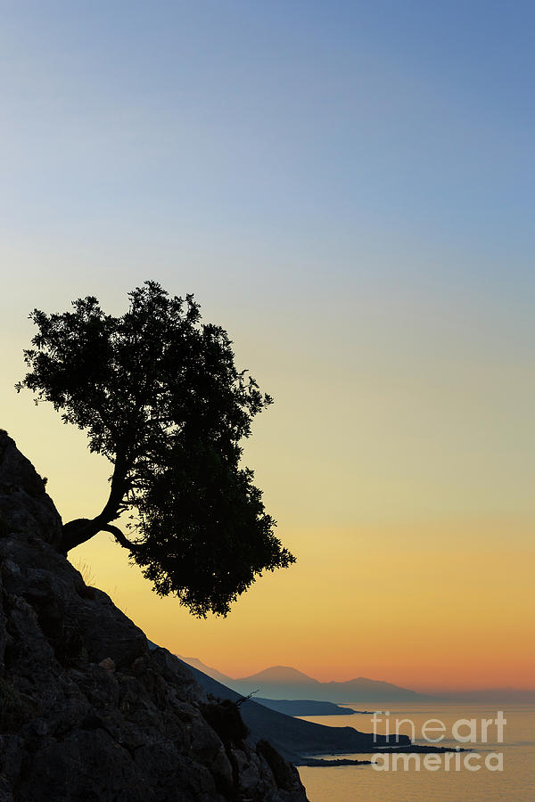 Silhouette Photograph - Lonely, Loutro, Chania, Crete, Greece by Kim Petersen