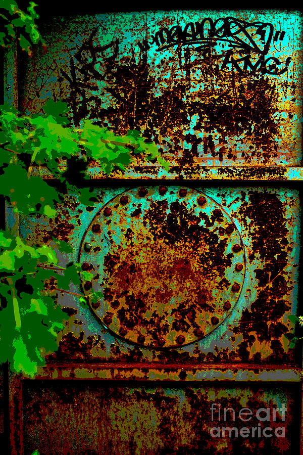 Metal Door Photograph - Graffiti In The Forest by Barbara Schultheis