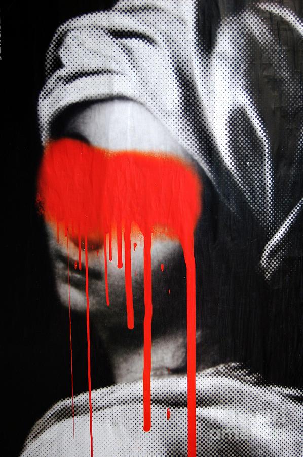 Graffiti Photograph - Graffiti On A Poster Krakow Poland by Wayne Higgs
