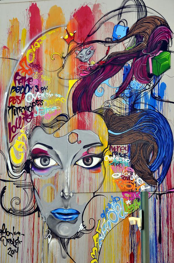 Graffiti Digital Art - Graffiti Woman Face by Lynda Art