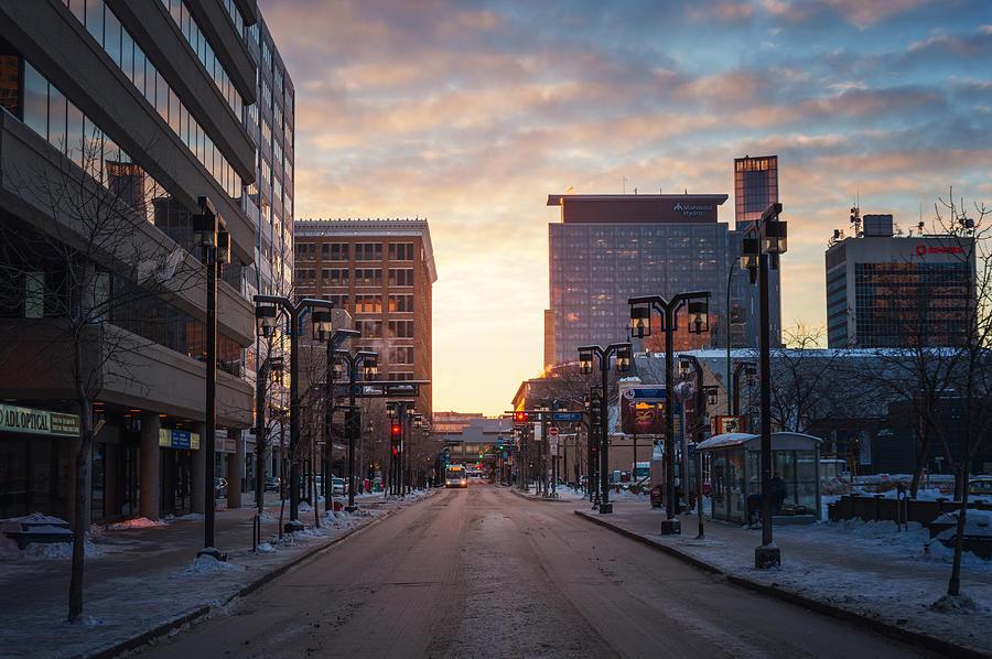 Architecture Photograph - Graham Avenue Sunset by Bryan Scott