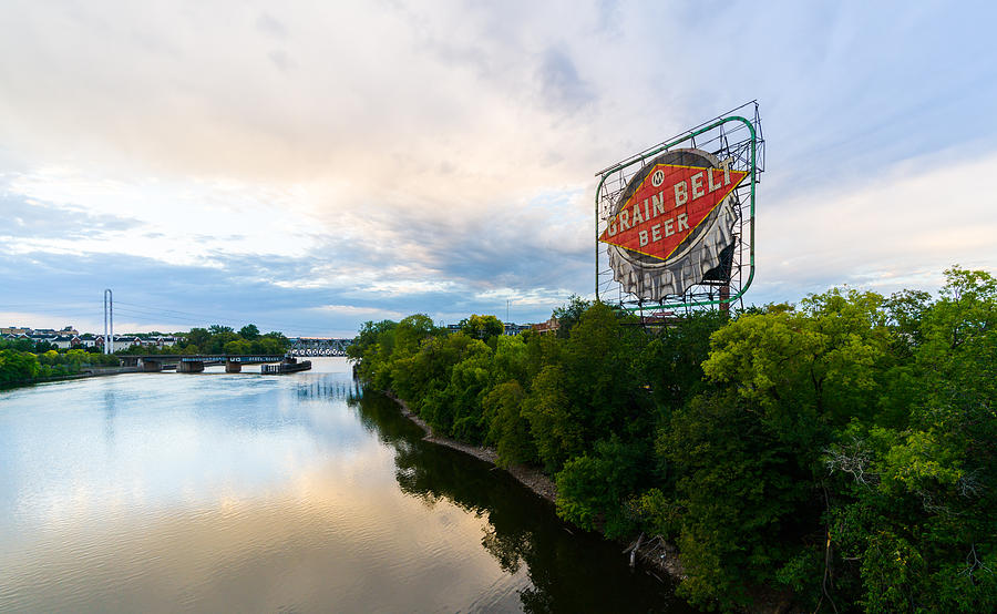 Grain Belt Beer sign on River by Mike Evangelist