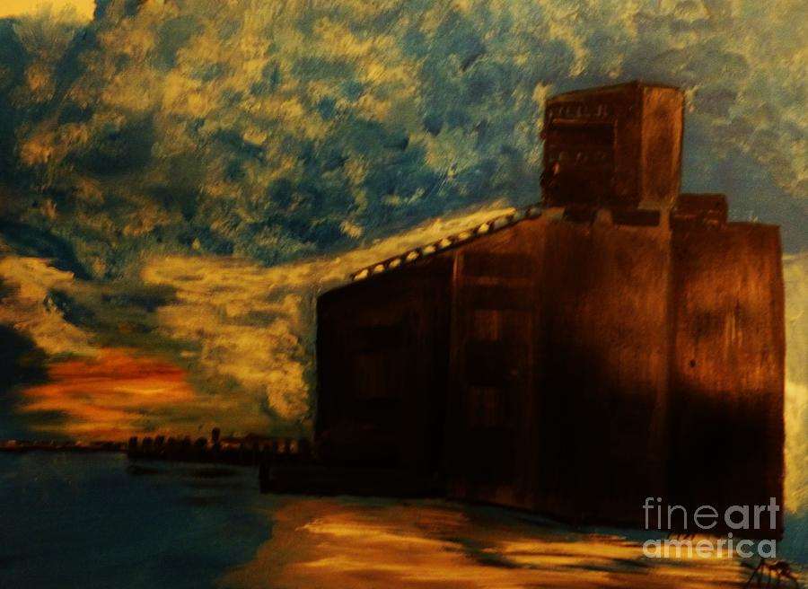 Industrial Painting - Grain Elevator On Lake Erie From A Photo By Nicole Bulger by Marie Bulger