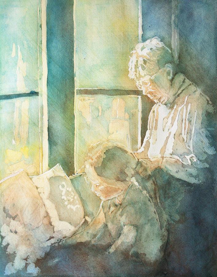 Family Painting - Gramdma Braids by Jenny Armitage