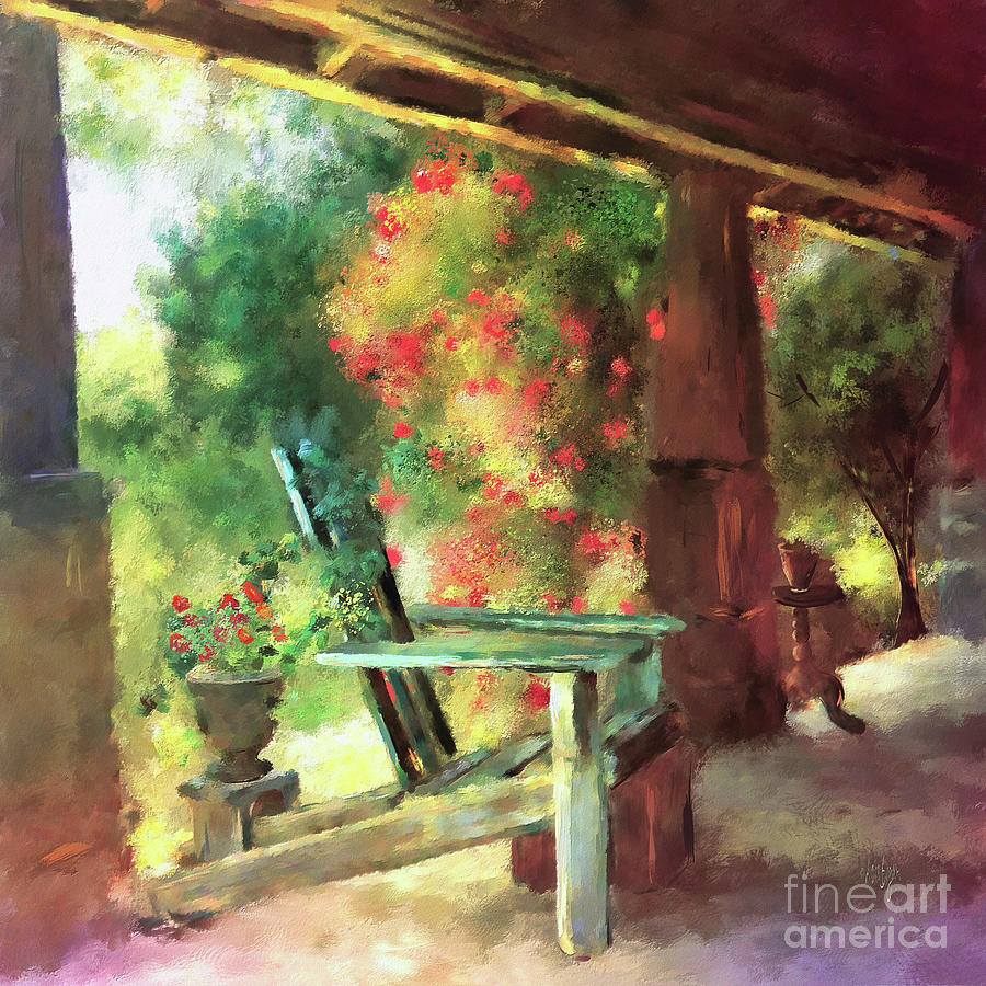 Porch Digital Art - Grammas Front Porch by Lois Bryan