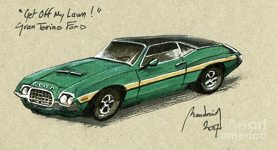 Gran Torino Ford #4 Painting by Alain Baudouin