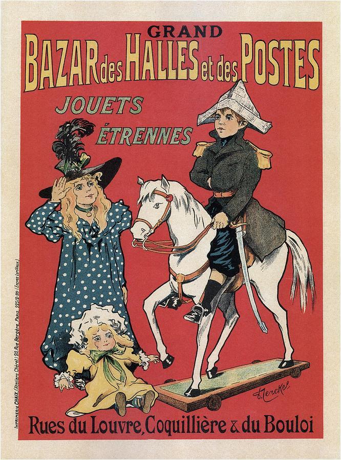 Grand Bazar Des Halles Et Des Postes - Vintage Advertising Poster Mixed Media