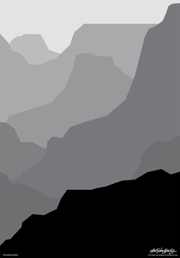 Grand Canyon Black Digital Art by Asbjorn Lonvig