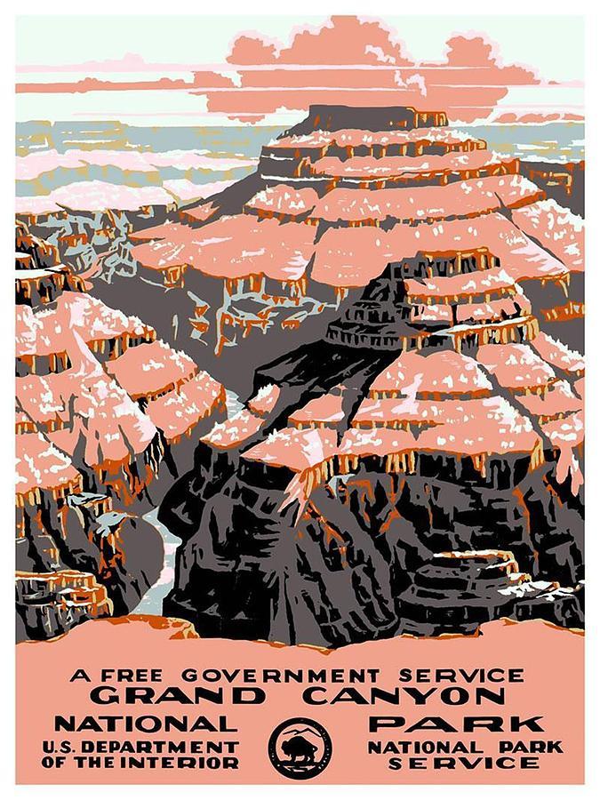 Grand Canyon - National Park - Colorado River - Retro Travel Poster - Vintage Poster Mixed Media